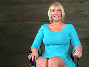 Blonde Mummy with giant tits getting the black shaft in the basement