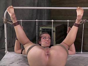 Lovely spread restrain bondage diva refined with fucktoy in Sadism & masochism porno