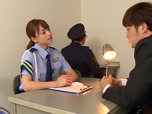 Akiho is a policewoman who likes it when there's a dick in her mitt