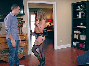 Elegant damsel in stockings called Kirsten is fairly ready to get fucked