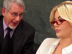 Mature principal gets lucky with an alluring blonde lovemaking bomb