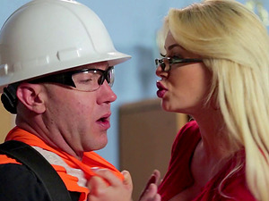 Blonde with glasses letting the bald geezer bang her in the classroom