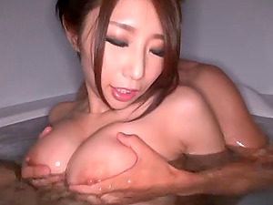 Fetching stunner called Ayumi gropes her beaver against the dude's penis