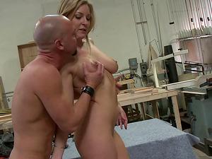 Curvy Avy needs the bald dude's pecker deep inwards her crevasse