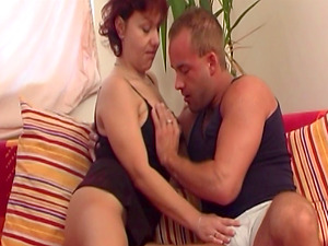 Red-haired Mature In Sexy Undergarments Fucks Youthful Man rod