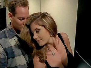Alluring big tits porn industry star sweet twat slurped in retro shoot