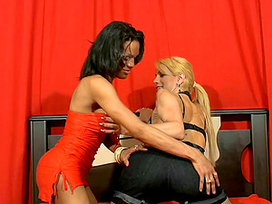 Two stacked mature shemales bang each other with fervor