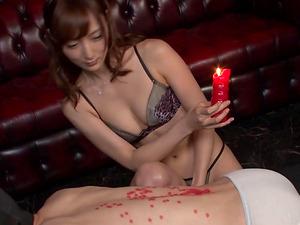Sexy Japanese stunner Kaede Fuyutsuki making a dude groan in pleasure