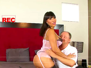 Ava Devine in sexy underwear seduced by a mature paramour
