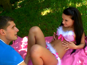 Lengthy hair Silviya B with diminutive tits pounded doggystyle outdoor