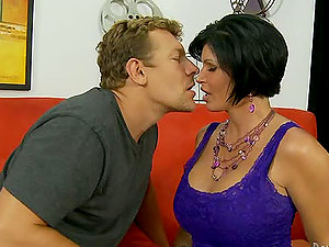 Big-titted dark haired Shay Fox gets her vulva tongued and fucked