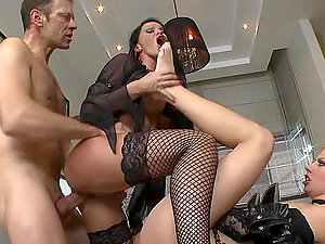 Rocco Fucks A Duo Of Hot Bitches.