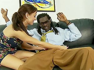 Mae Meyers deep-throats a big black man sausage and welcomes it in her labia