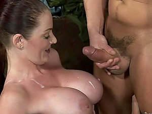 Two big-boobed damsels suck a man sausage and get jism on their melons