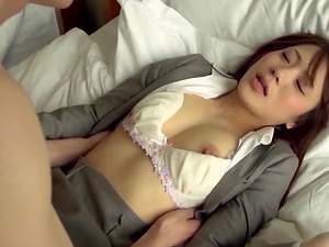Hot Japanese biz woman attacked by a cunt longing man