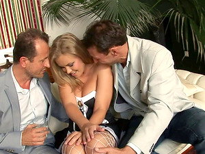 Two masters couldn't stand against but get maid Colette naked and pound her