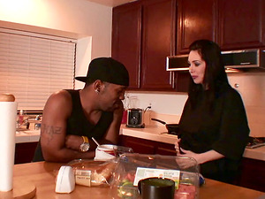 RayVeness places her butt cheeks on a fleshy coal manstick and rails it