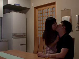 Sorami Haga has her fuck donut penetrated in the kitchen