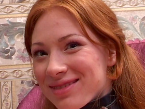 Experienced honey having a threesome with a red-haired and a uber-cute stud