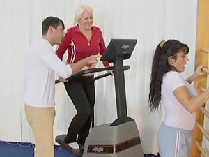 Gym threesome with a chubby granny and a slender youthful honey