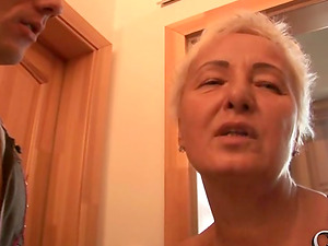 Two youthfull dicks for a libidinous blonde GILF Suzanna