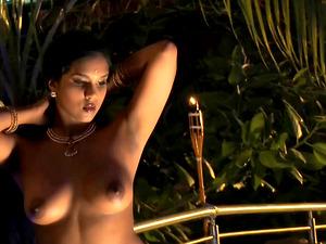 Alluring Indian damsel Bharat Natyam washing her desirable assets