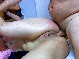 Natural tits Tina moaning while cock riding in ffm
