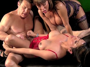 Steamy threesome with a passionate shemale bombshell Ava Devine