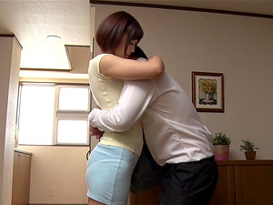 Japanese woman is happy to fell her man's dick up her love tunnel