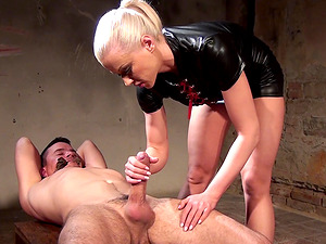 Hot ass Victoria giving dick handjob in femdom BDSM