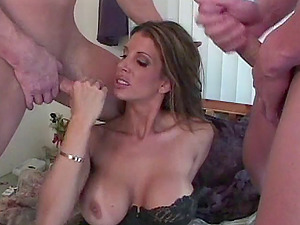 Randy MILF Shay Sights opens her legs for a couple of fat dicks