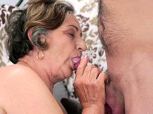 Lascivious granny Kata has her beaver drilled by her stud Rob