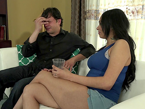 Dark-haired honey Bethany Benz riding Anthony Rosano's wiener