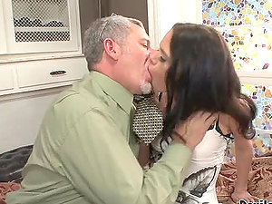 Angelina Black and Desiree Deluca fuck with an old man in the bedroom