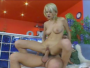 Blonde bombshell gets her pusy and caboose fucked hard