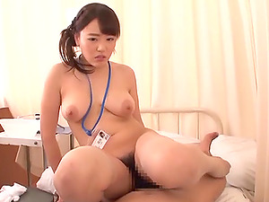 Hot Asian nurse sits on top of a pulsating meat pole