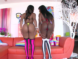 Ana Foxxx and Chanell Heart blowing fat dick