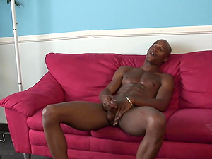 The Machine is a hot black fellow who desires a handjob from a hunk