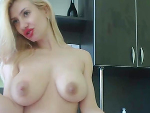 Blonde sucks big dildo and fuck her tough German pussy!