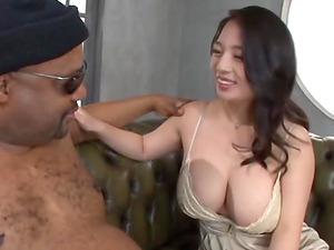Mako Oda is excited about a man's massive black boner