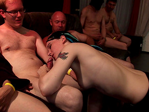 Chick with braids ravished by a bunch of horny lovers