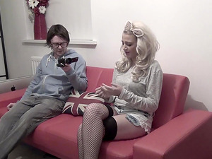 Abbi Price is a blonde with long hair curious about a prick