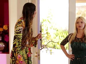 Stunning Sarah Vandella bends over for Venus Lux's erected dick