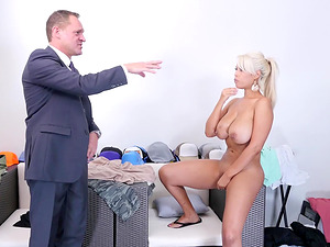 Bridgette B is a naked blonde in need of a gentleman's giners