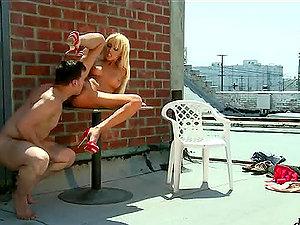 Blonde cutie Breanne Benson gets fucked near a brick wall