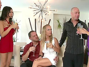 Three guys have fun dirty games with their beautiful GFs