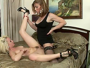 Hot blonde chick deep-throats and rails two shemales' dicks