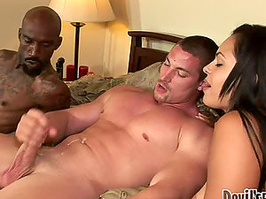 Horny Angelina Stoli gets in a threesome hump with two bisexuals