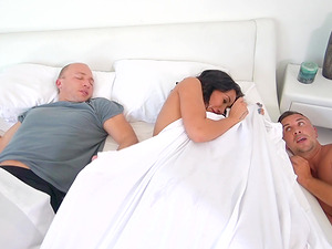 Amia Miley must close her mouth while getting the cock near her hubby
