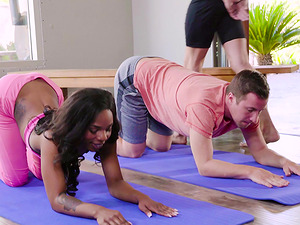 Sarah Banks goes to yoga and ends up in a double penetration